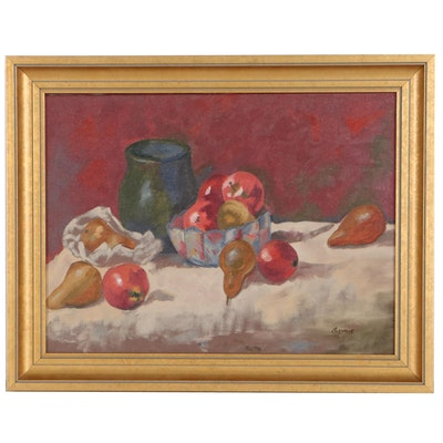 Annie Still Life Oil Painting of Apples and Pears, Late 20th Century