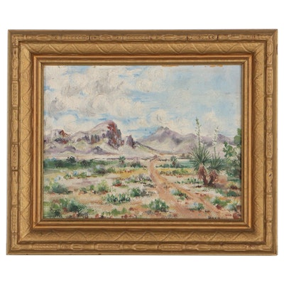 Landscape Oil Painting of Desert, Early 20th Century