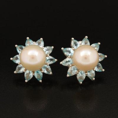 Sterling Pearl and Apatite Earrings