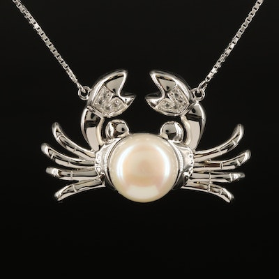 Sterling Crab Necklace with Pearl and Topaz