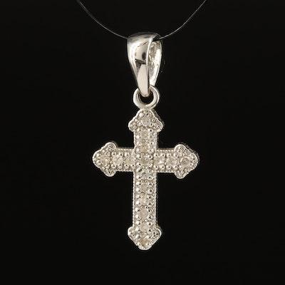 14K 0.08 CTW Diamond Budded Cross Pendant