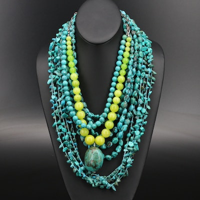 Sterling Beaded Magnesite and Turquoise Necklaces Featuring Kenneth Cole