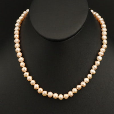 Oval - Semi-Baroque Pearl Necklace with 14K Clasp