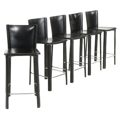 Five Modernist Style Leather Upholstered Counter-Height Barstools