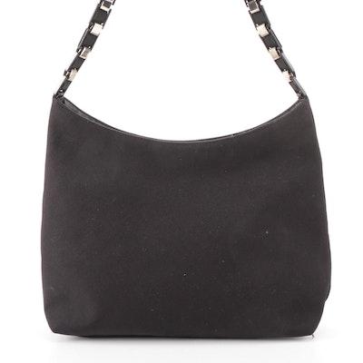 Salvatore Ferragamo Shoulder Bag in Black Nylon with Grosgrain and Link Strap