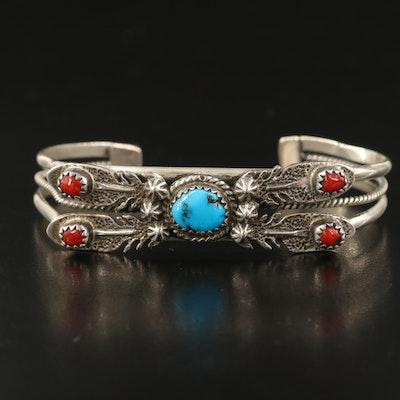 Southwestern Sterling Turquoise, Coral and Black Bear Claw Cuff and Ring