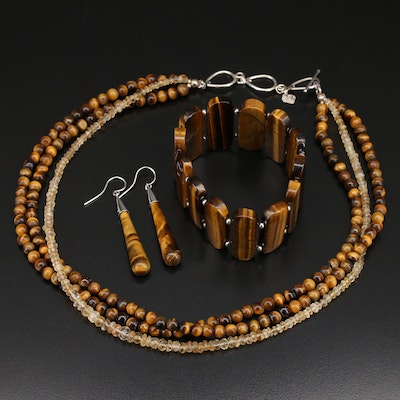 Tiger's Eye and Citrine Jewelry Set