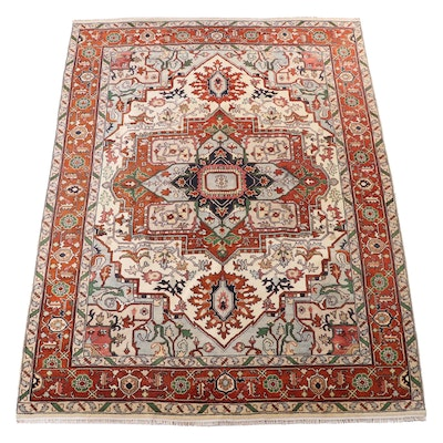 9' x 12' Hand-Knotted Indo-Persian Heriz Room Sized Rug