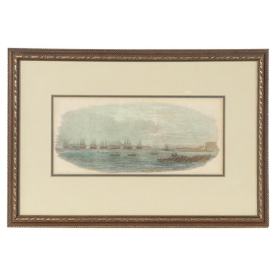 Nautical Hand-Colored Engraving of Battleships, Late 19th to 20th Century