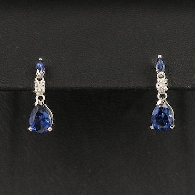 10K Sapphire and Diamond Drop Earrings