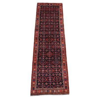 3'8 x 12'2 Hand-Knotted Persian Hamadan Herati Long Rug