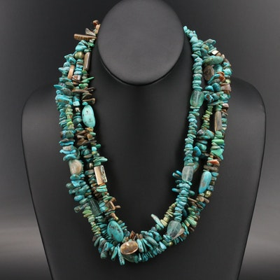 Sterling Abalone, Pearl and Turquoise Torsade