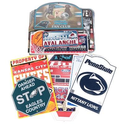 NFL, MLB, NBA, NCAA and NASCAR Sports Team Novelty Signage