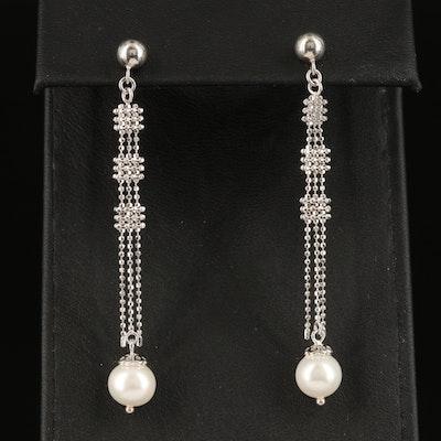Sterling Pearl Pendulum Earrings