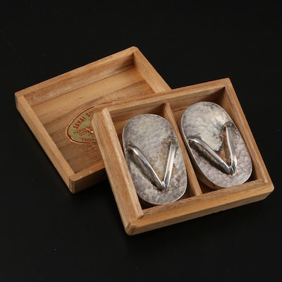 Japanese Hammered Sterling Silver Zori Sandal Form Shakers