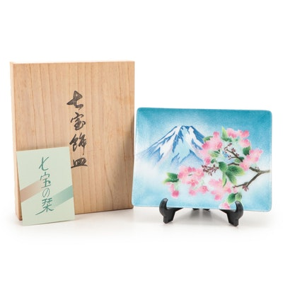 Hinode Cloisonne Shippo Yaki Mt. Fuji and Sakura Motif Dish with Display