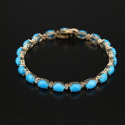 14K Turquoise and Diamond Bracelet