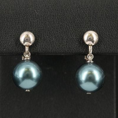 Sterling Imitation Pearl Earrings