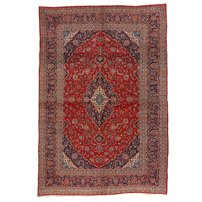 8'2 x 11'11 Hand-Knotted Persian Kashan Room Sized Rug