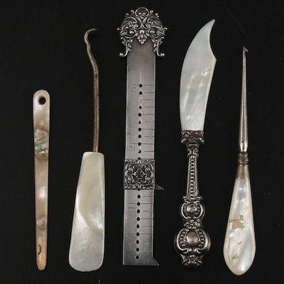 Victorian Sterling Silver Sewing Ruler with Other Sterling and MOP Vanity Items