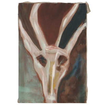 Schneider Oil Painting of Abstract Antelope Skull, Late 20th Century