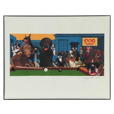 Jimmy Ellis Giclée of Dogs at a Pub, 21st Century