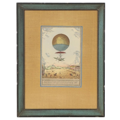 """Hand-Colored Lithograph After Charles Dupont """"Hot Air Baloon"""""""