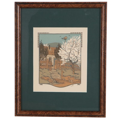 """Gustave Baumann Woodcut """"April"""" for """"All The Year Round,"""" 1912"""