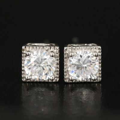 Sterling Cubic Zirconia Earrings with Milgrain Edges