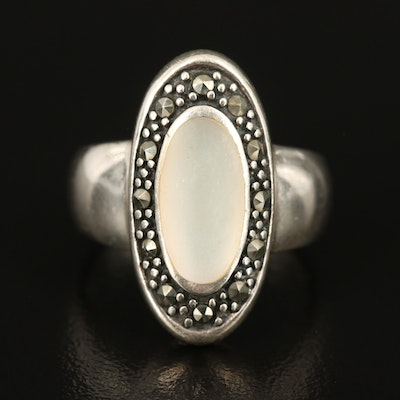 Sterling Mother of Pearl and Marcasite Oblong Ring