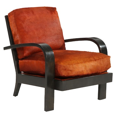 Beverly Home and Hotel Art Deco Black Lacquer and Faux Fur Lounge Chair