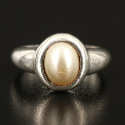 Sterling Imitation Pearl Ring