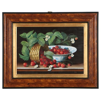 Rusy Still Life Oil Painting of Strawberries, Late 20th Century