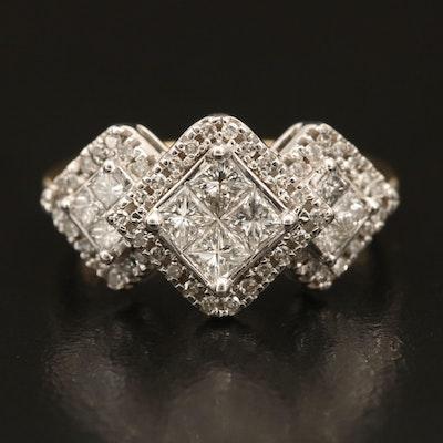 10K 1.02 CTW Diamond Cluster Ring