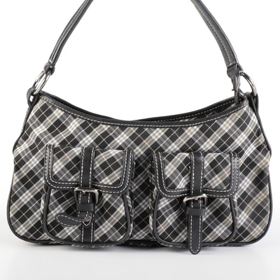 Burberry Blue Label Check Canvas and Leather Shoulder Bag