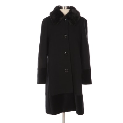 Kate Spade New York Wool Blend Coat with Plush Pile Collar and Velvet Trim