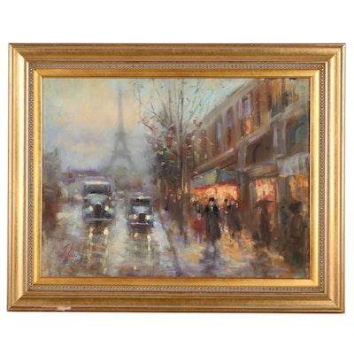 Parisian Street Scene Oil Painting, Late 20th Century