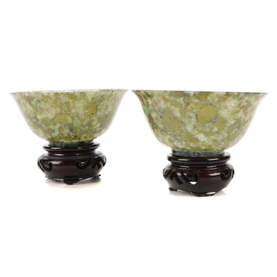 Chinese Thinly Carved Serpentine Bowls with Carved Wooden Stands