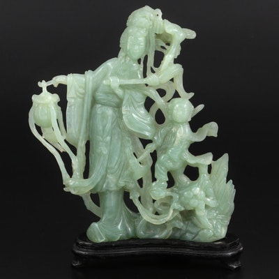 Chinese Carved Serpentine Chang'e and Child Figurine