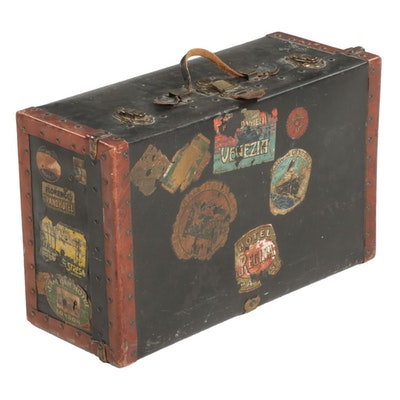 Leather-Clad Metal and Pine Suitcase, Early to Mid 20th Century