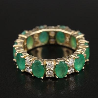 14K Emerald and 1.20 CTW Diamond Eternity Band