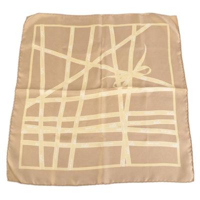 Hermès Petit Carré Mini Scarf in Bolduc Ribbon Print Silk Twill