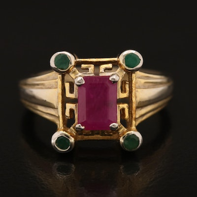 Sterling Ruby and Emerald Ring
