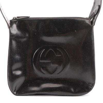 Gucci GG Shoulder Bag in Black Glazed Leather