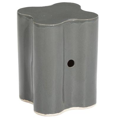 Contemporary Quatrefoil Glazed Ceramic Garden Stool