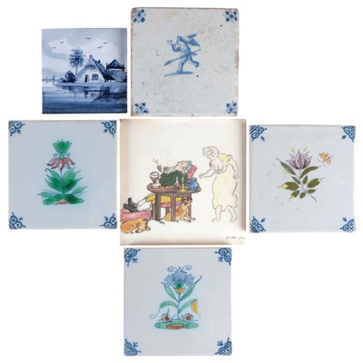 Royal Makkum Dutch Hand-Painted Ceramic Tiles with Other Dutch Ceramic Tiles