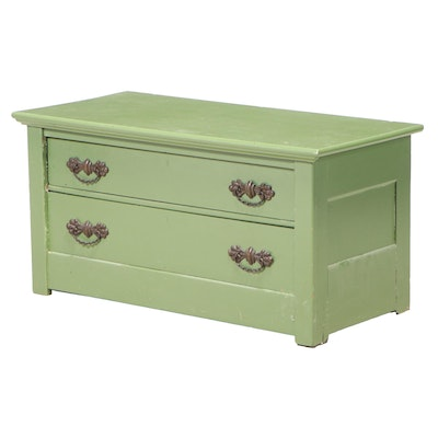 Victorian Green-Painted Oak Two-Drawer Chest, Late 19th Century