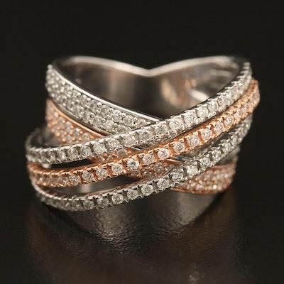 14K Two-Tone 1.33 CTW Diamond Crossover Ring
