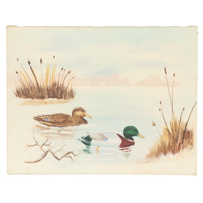 Oil Painting of Ducks in a Pond Attributed to Mary Love Ward, Late 20th Century
