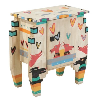 Hand-Painted Wood Side Table Cabinet